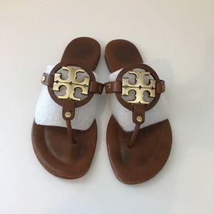 Tory Burch Miller Sandals Metal Logo Size 8